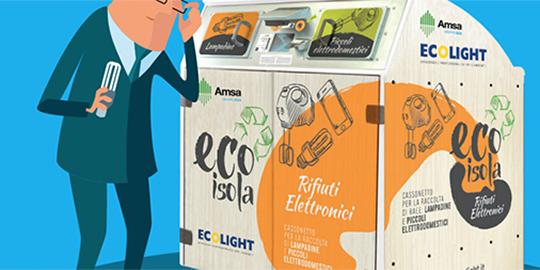 EcoIsole per la raccolta piccoli rifiuti elettronici